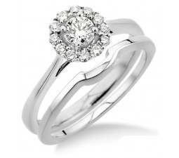 0.50 carat Bridal set Halo with Round Cut diamond in 10k White Gold