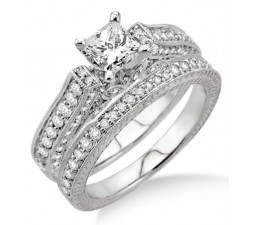 2.10 Carat Antique Bridal Set Engagement Ring with Princess Cut Diamond in 10k White Gold