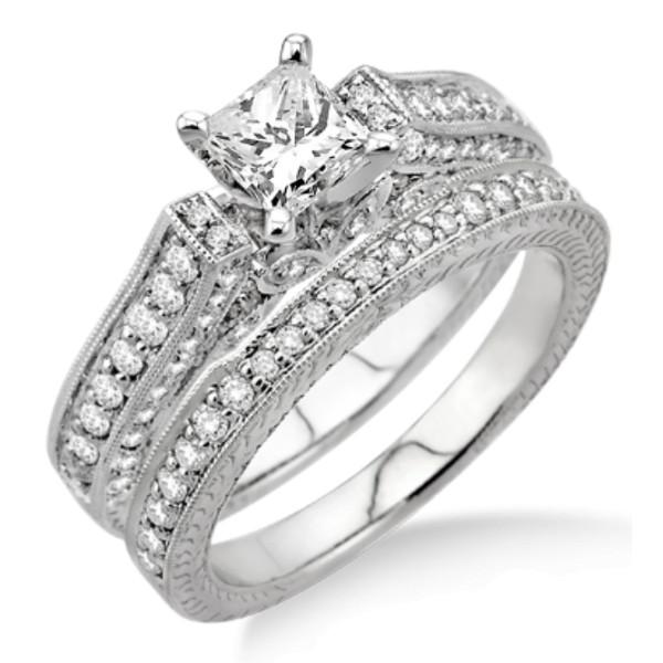 2.10 Carat Antique Bridal Set Engagement Ring with Princess Cut Diamond in 10k White Gold