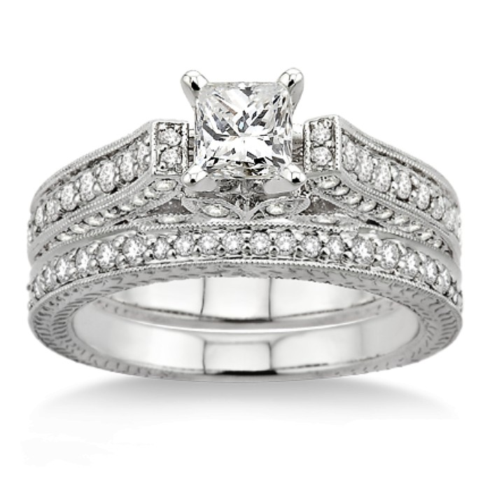 GIA Certified 2 00 Carat Antique Bridal Set Engagement Ring with Princess Cut