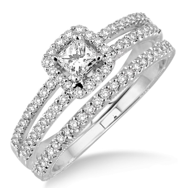 1.25 Carat Bridal Set two row halo with Princess Cut Diamond in 10k white Gold