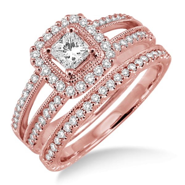 2.00 carat Antique Bridal set Halo Ring with Round Cut diamond in 10k Rose Gold