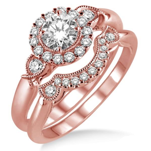 1.00 Carat Antique Three Stone Flower Halo Bridal Set with Round Cut Diamond in 10k Rose Gold