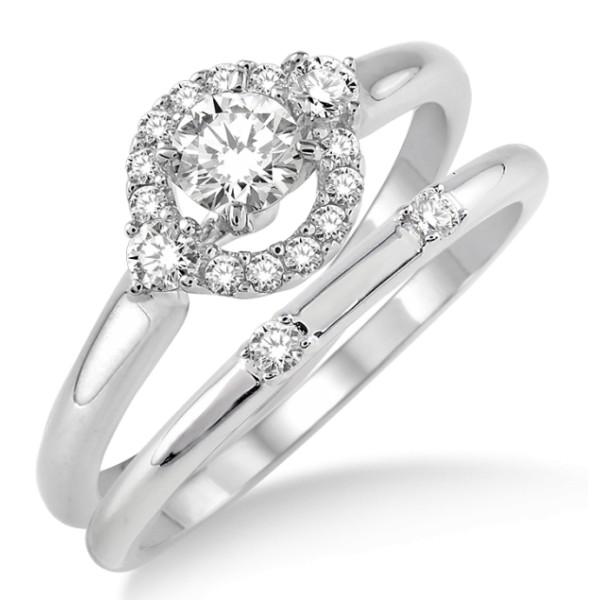 0.50 Carat Elegant Flower Halo Bridal Set with Round Cut Diamond in 10k White Gold