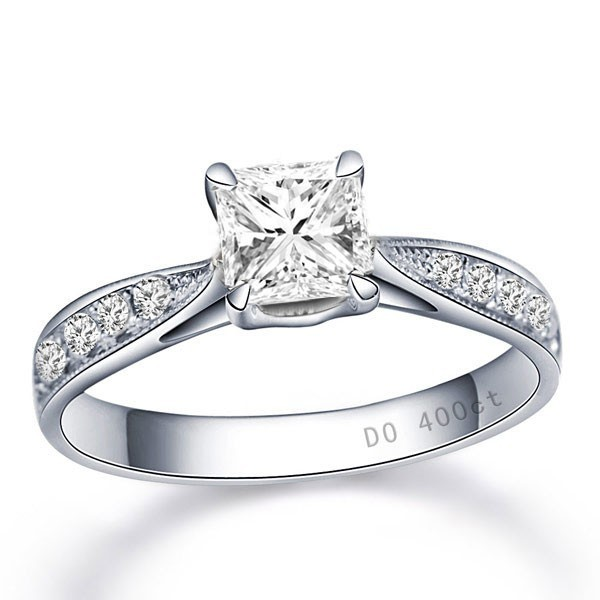 05 carat princess cut diamond multistone ring on 10k white gold - Princess Cut Diamond Wedding Rings