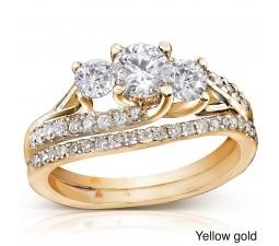 1 Carat Trilogy Round Diamond Wedding Ring Set in Yellow Gold
