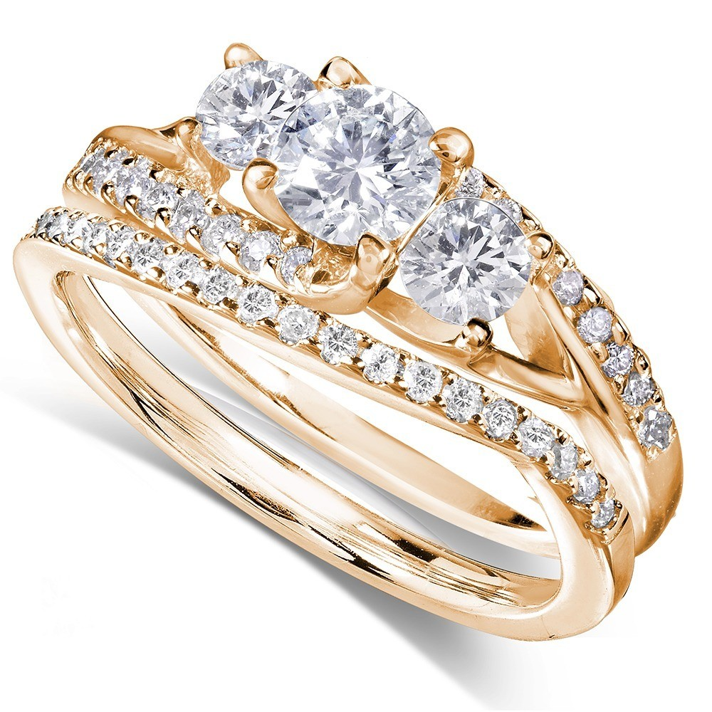 Genial ... 1 Carat Trilogy Round Diamond Wedding Ring Set In Yellow Gold