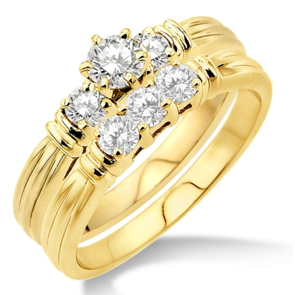 0.50 Carat Three Stone Bridal Set with Round Cut Diamond in 10k Yellow Gold