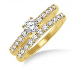0.50 Carat Elegant Bridal Set with Round Cut Diamond in 10k Yellow Gold