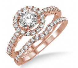 1.00 carat Antique Floral Halo Bridal set with Round Cut diamond in 10k Rose Gold