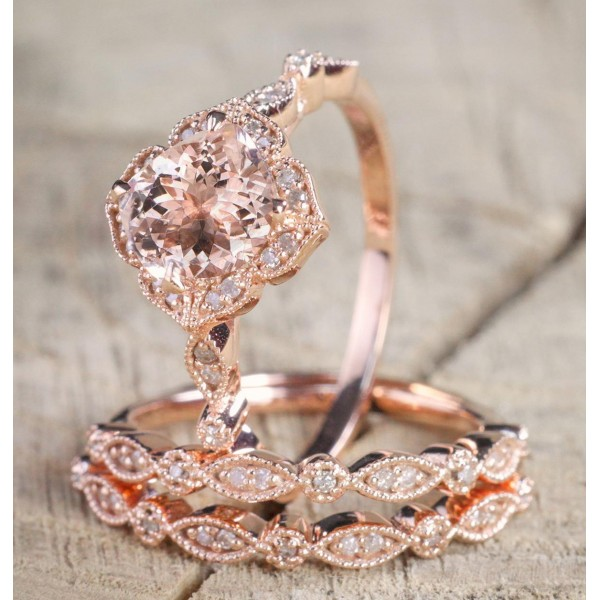 2.25 carat Morganite Diamond Trio Wedding Bridal Ring Set in 10k Rose Gold with Engagement Ring & 2 Wedding Bands