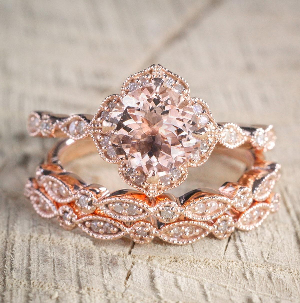 2 Carat Morganite And Diamond Trio Wedding Bridal Ring Set In 10k Rose Gold  With One Engagement Ring And 2 Wedding Bands.