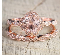 2 carat round cut morganite and diamond halo bridal wedding ring set in rose gold bestselling design - Rose Gold Wedding Ring Sets