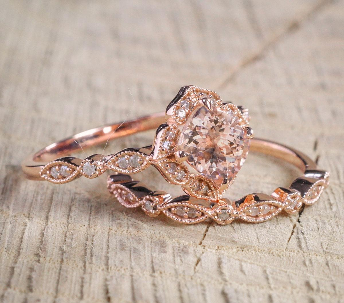 ... 2 Carat Round Cut Morganite And Diamond Halo Bridal Wedding Ring Set In  Rose Gold: