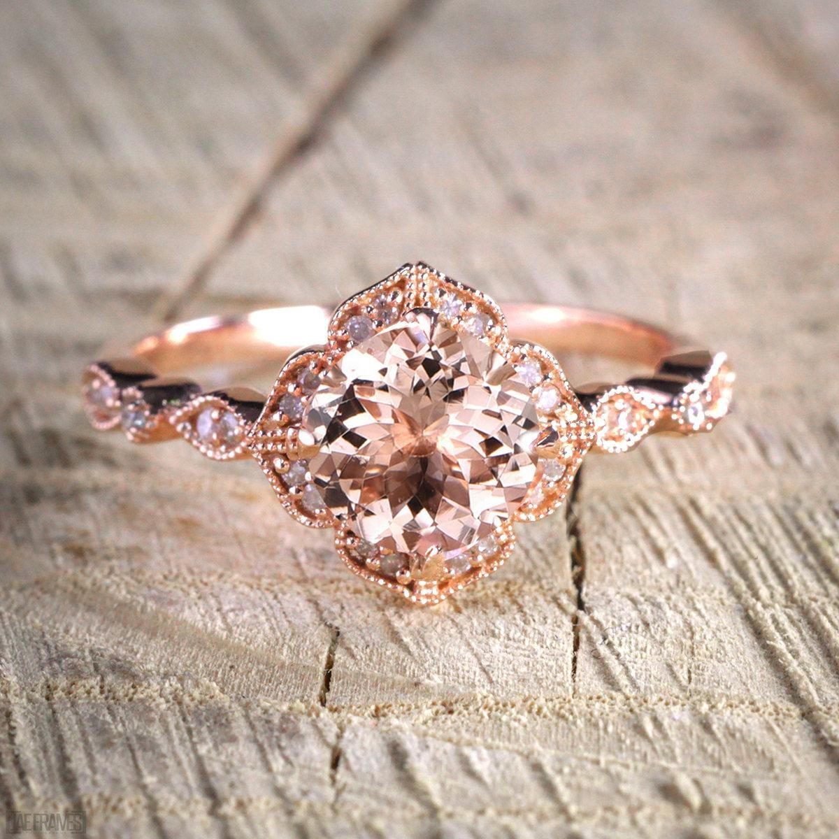 sale antique design 125 carat peach pink morganite round shaped and diamond engagement ring in 10k rose gold jewelry - Rose Wedding Rings