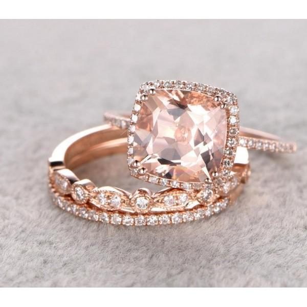 Sale 2 carat Morganite and Diamond Trio Wedding Bridal Ring Set in 10k Rose G