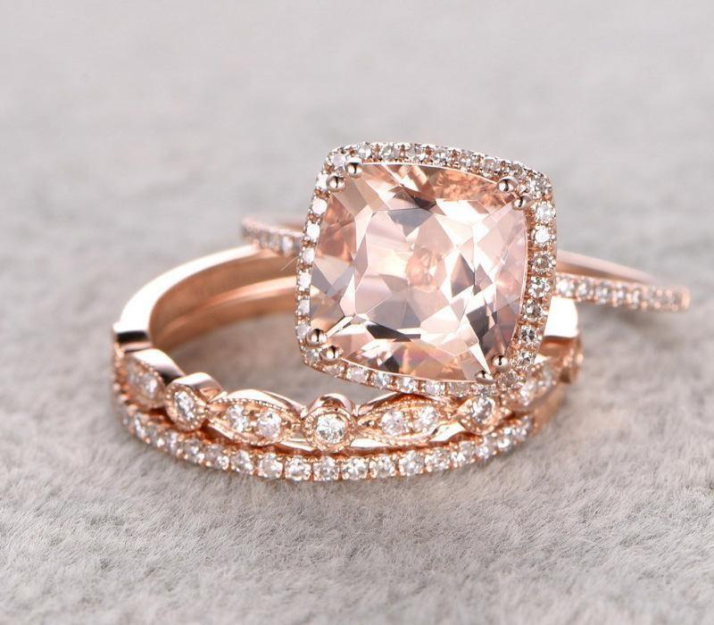 sale 2 carat morganite and diamond trio wedding bridal ring set in 10k rose gold with one engagement ring and 2 wedding bands - Rose Gold Wedding Ring Set
