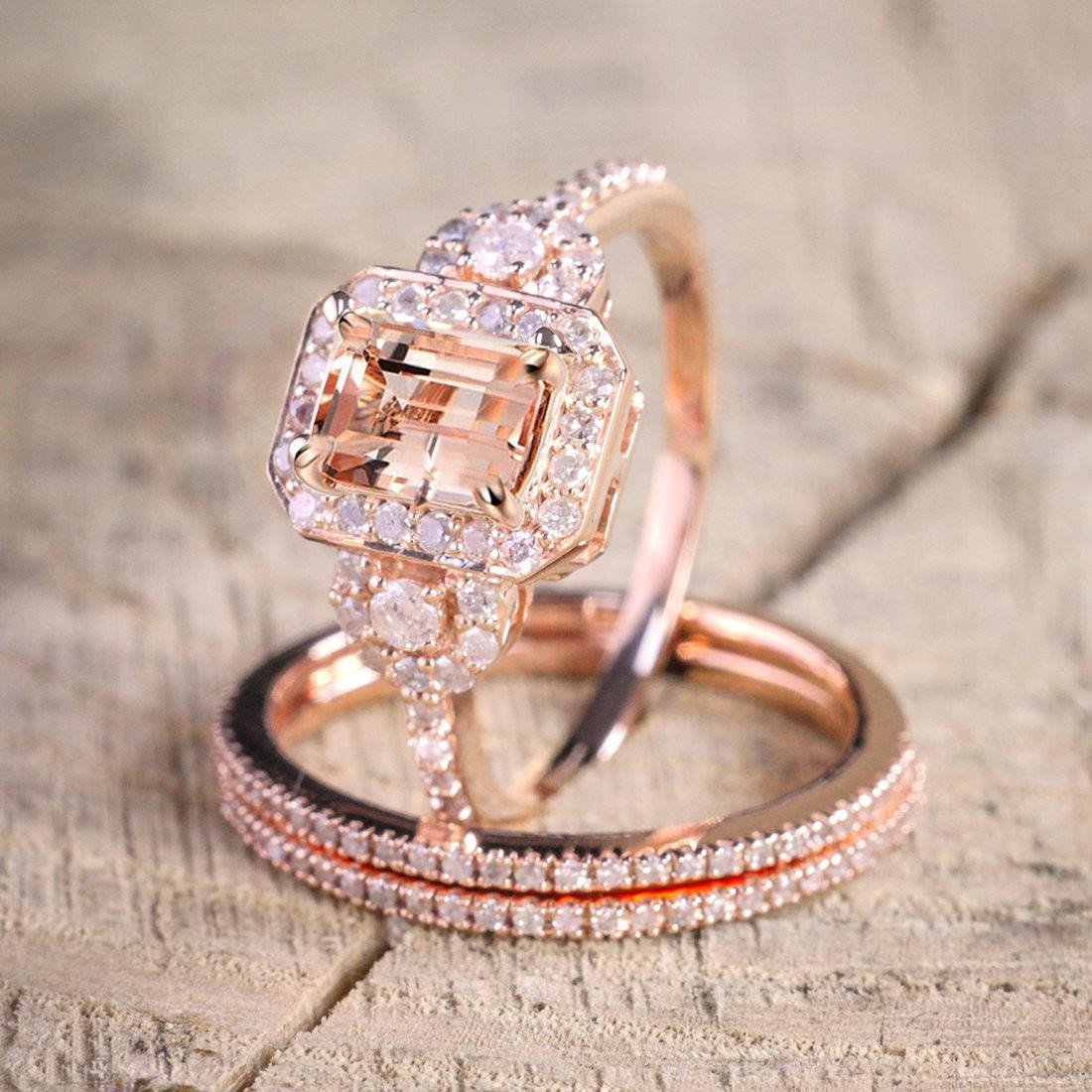 limited time sale carat morganite and diamond trio ring
