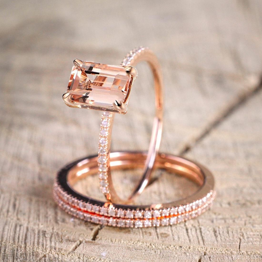 Engagement Rings Sale Rose Gold: Limited Time Sale 2.50 Carat Morganite And Diamond Trio