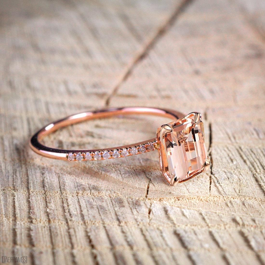 Engagement Rings Sale Rose Gold: Limited Time Sale 1.50 Carat Peach Pink Morganite (emerald