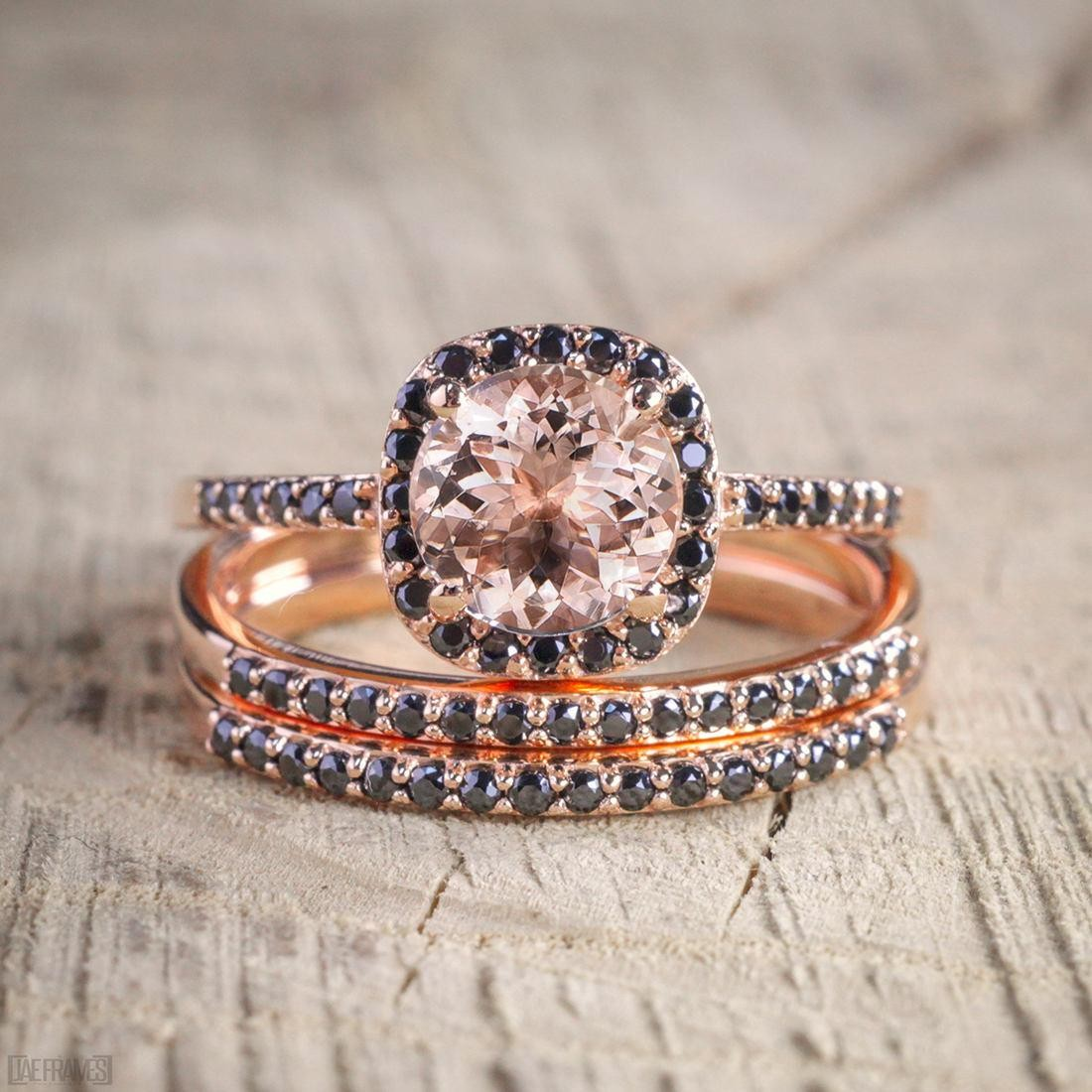sale 250 carat morganite and black diamond trio wedding bridal ring set in 10k rose gold with engagement ring 2 wedding bands - Rose Gold Wedding Ring Set