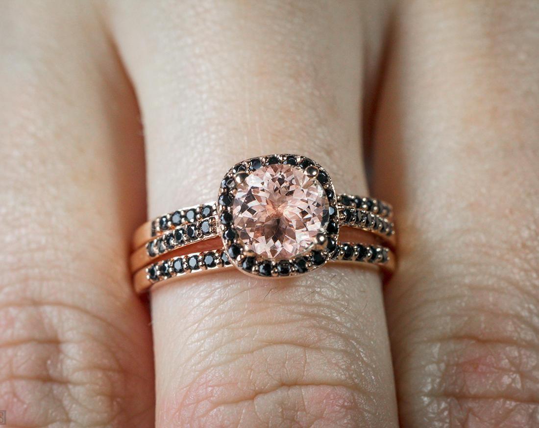 Sale 250 carat Morganite and Black Diamond Trio Wedding Bridal Ring