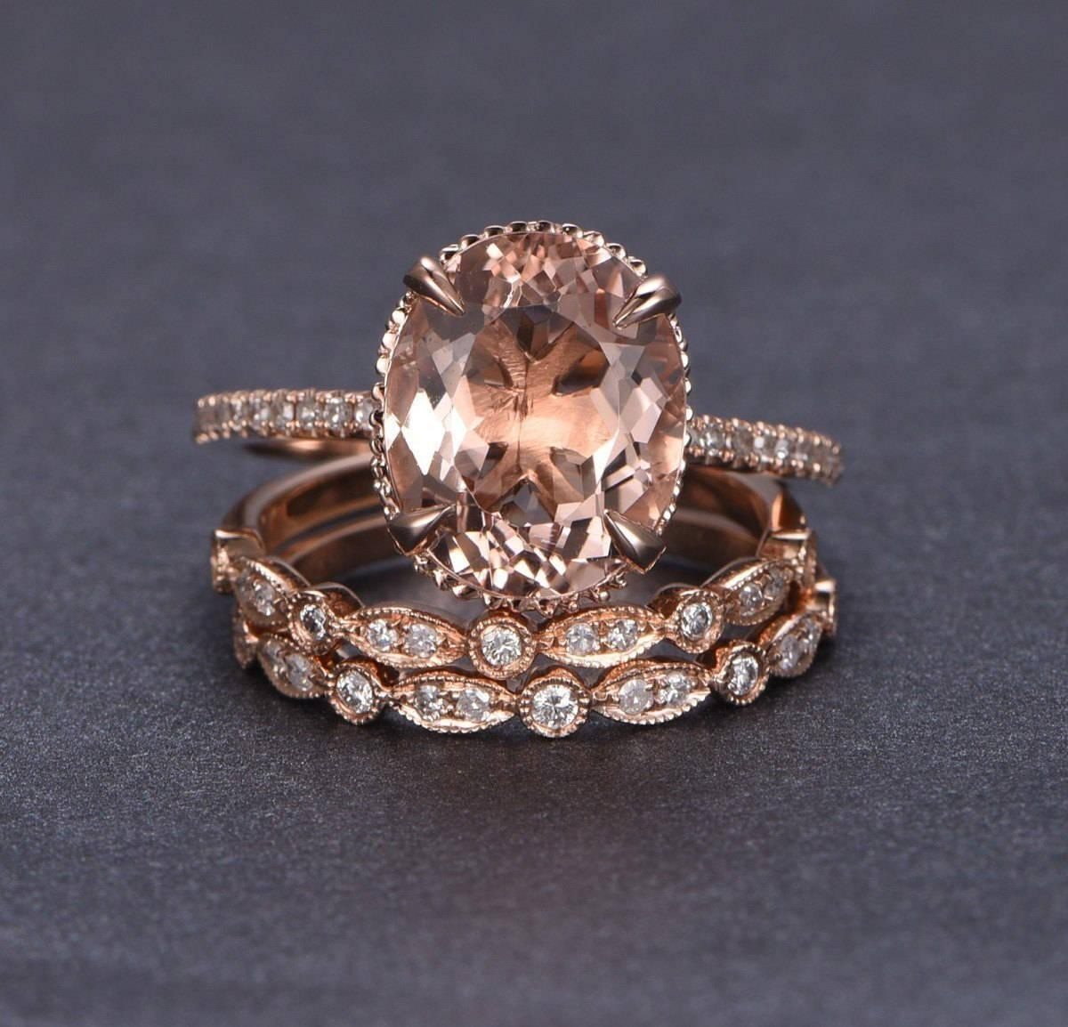 limited time sale 2 carat morganite and diamond trio ring set in 14k rose gold with one engagement ring and 2 wedding bands - Rose Wedding Rings