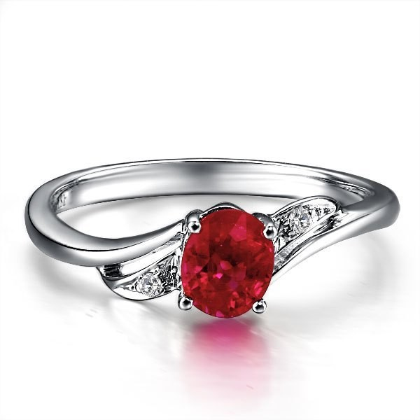 ruby and engagement ring on 10k white gold