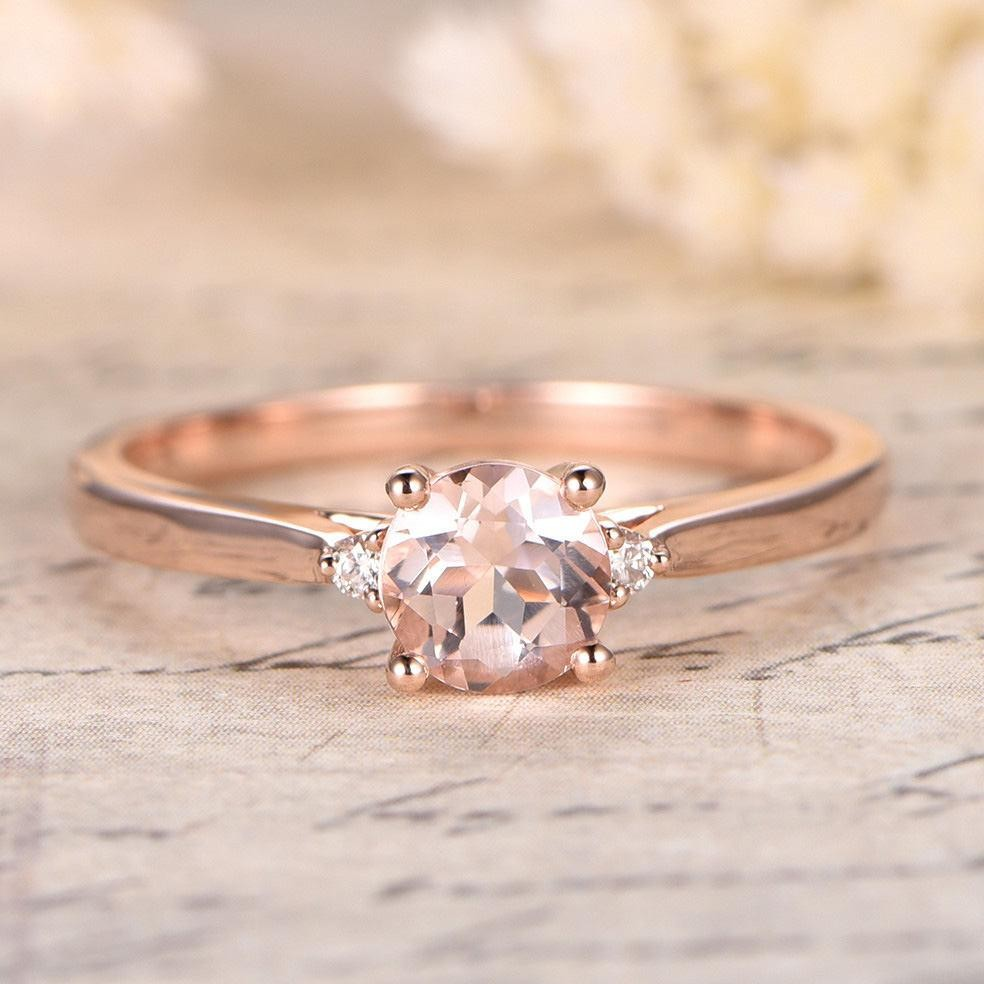 Limited Time Sale Trilogy Three Stone 110 Carat Morganite And Diamond  Engagement Ring In 10k Rose Gold For Women