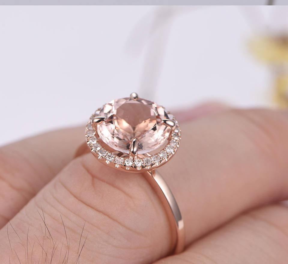 Limited Time Sale Antique Halo 1.25 carat Morganite and Diamond Halo ...