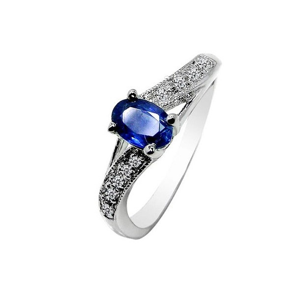 half carat blue sapphire engagement ring on silver