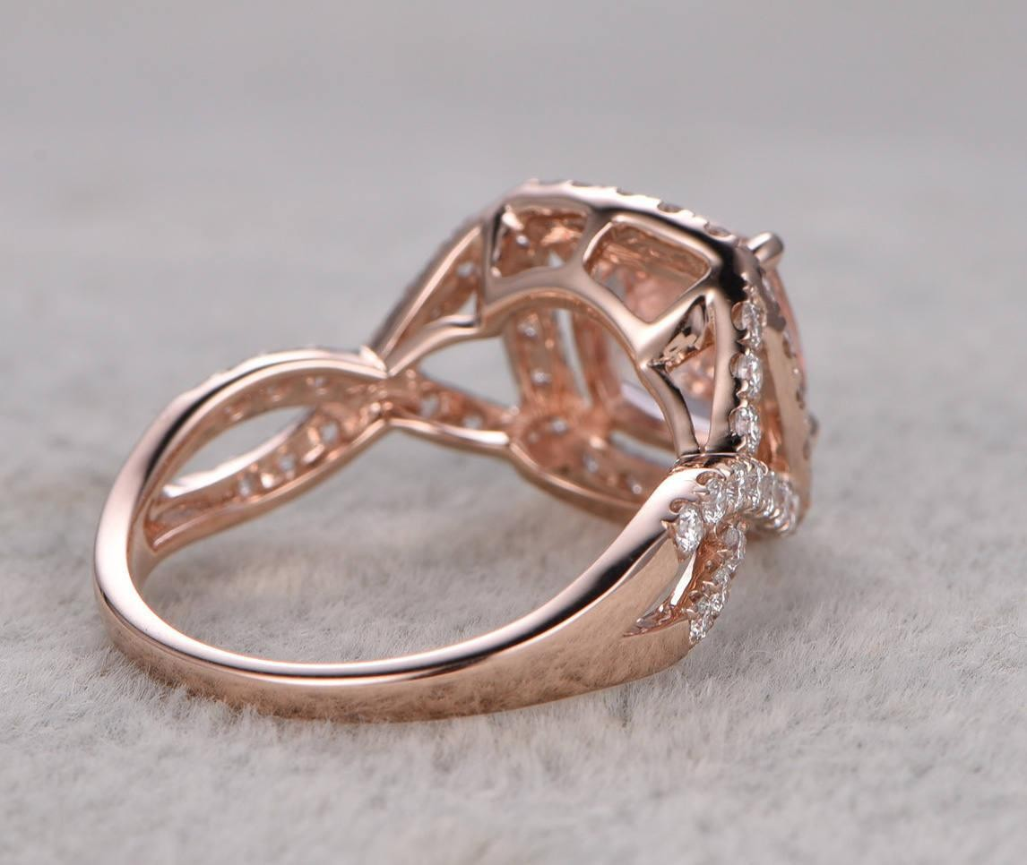 Engagement Rings Sale Rose Gold: Limited Time Sale 1.50 Carat Morganite And Diamond Halo