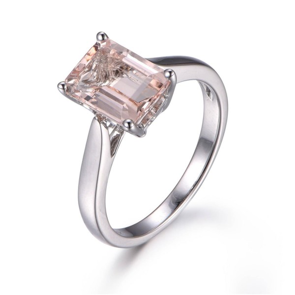 Bestselling Morganite Engagement Ring on Sale: 1 Carat Morganite Solitaire Engagement Ring in 10k White Gold