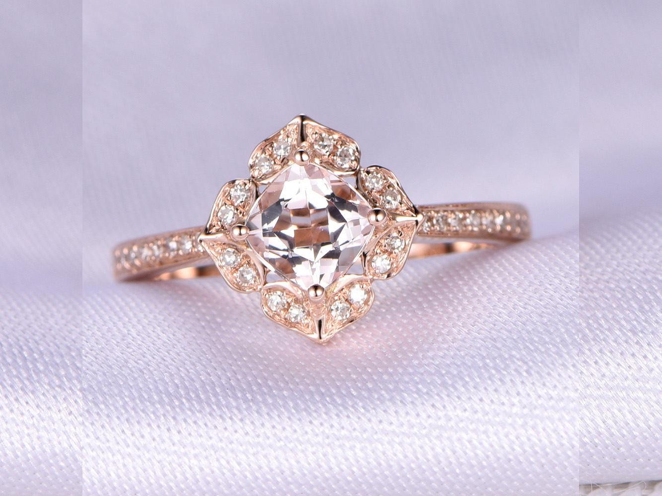 Limited Time Sale Antique 1.25 Carat Morganite And Diamond