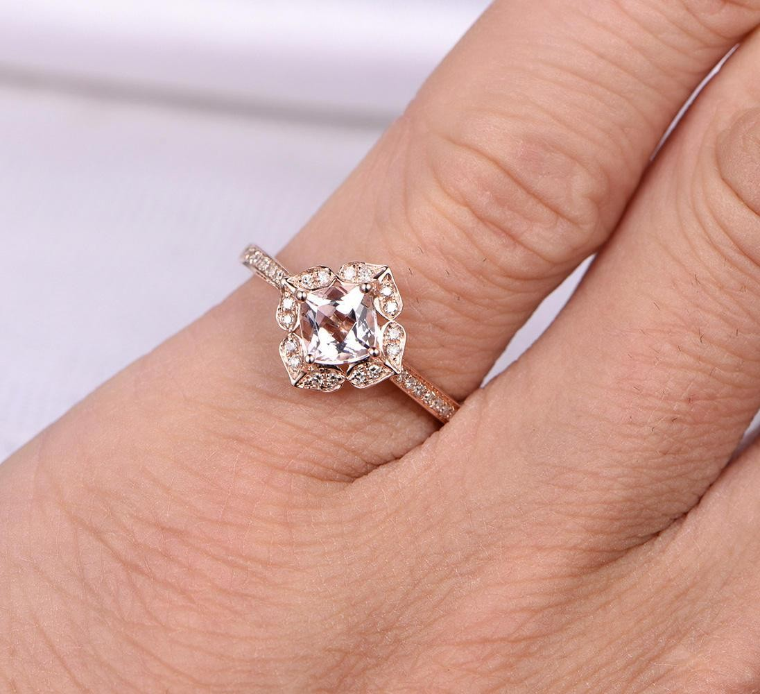 Engagement Rings Sale Rose Gold: Limited Time Sale Antique 1.25 Carat Morganite And Diamond