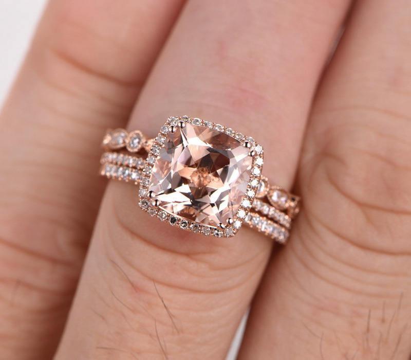 Limited Time Sale 2 carat Morganite Diamond Trio Wedding Bridal Ring