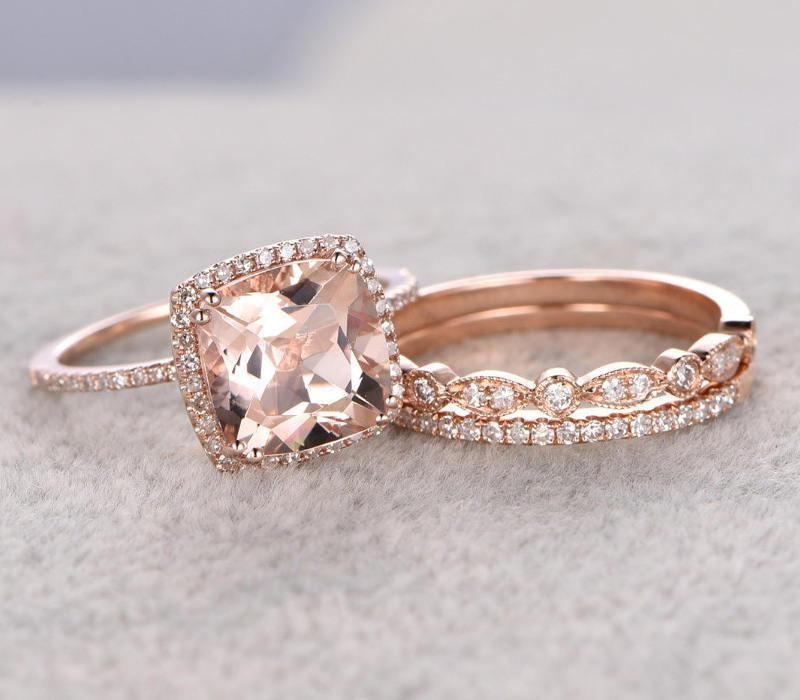 Limited Time Sale 2 Carat Morganite Diamond Trio Wedding