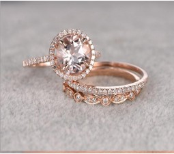 Delightful Limited Time Sale 2 Carat Morganite And Diamond Trio Ring Set In 10k Rose  Gold With One Engagement Ring And 2 Wedding Bands