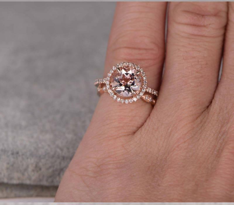 150 carat Round Cut Morganite and Diamond Halo Bridal Set in Rose