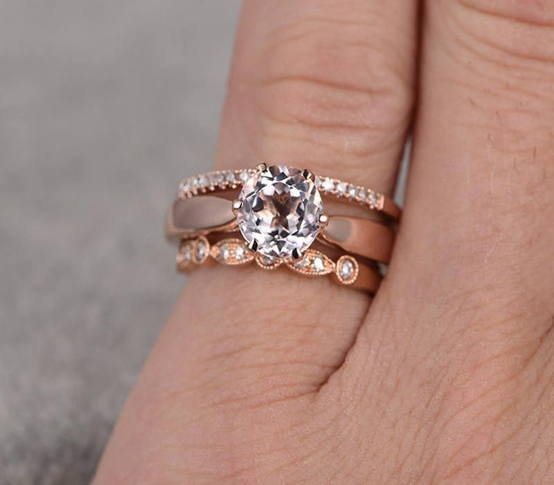 Limited Time Sale 2 Carat Morganite And Diamond Trio Ring