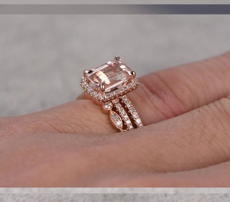 limited time sale 2 carat morganite and diamond trio ring set in 10k rose gold with one engagement ring and 2 wedding bands - Morganite Wedding Ring Set