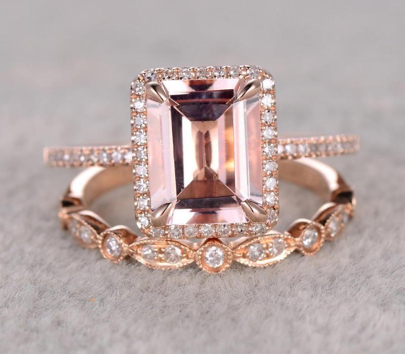 Perfect Halo Bridal Set On Sale 1 50 Carat Emerald Cut