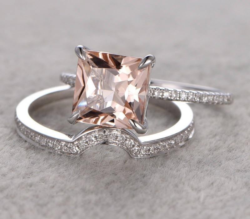 150 Carat Peach Pink Morganite Princess Cut Diamond Engagement Ring Wedding Bridal Set In 10k White Gold