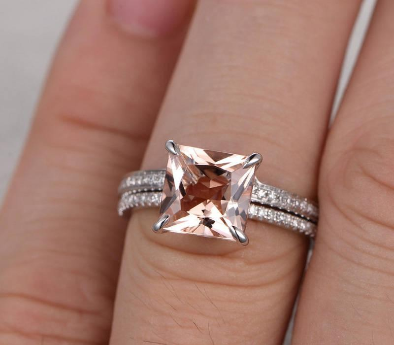 1 50 Carat Peach Pink Morganite Princess Cut Morganite