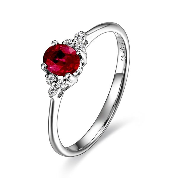 Ruby And Diamond Engagement Ring On 9ct White Gold