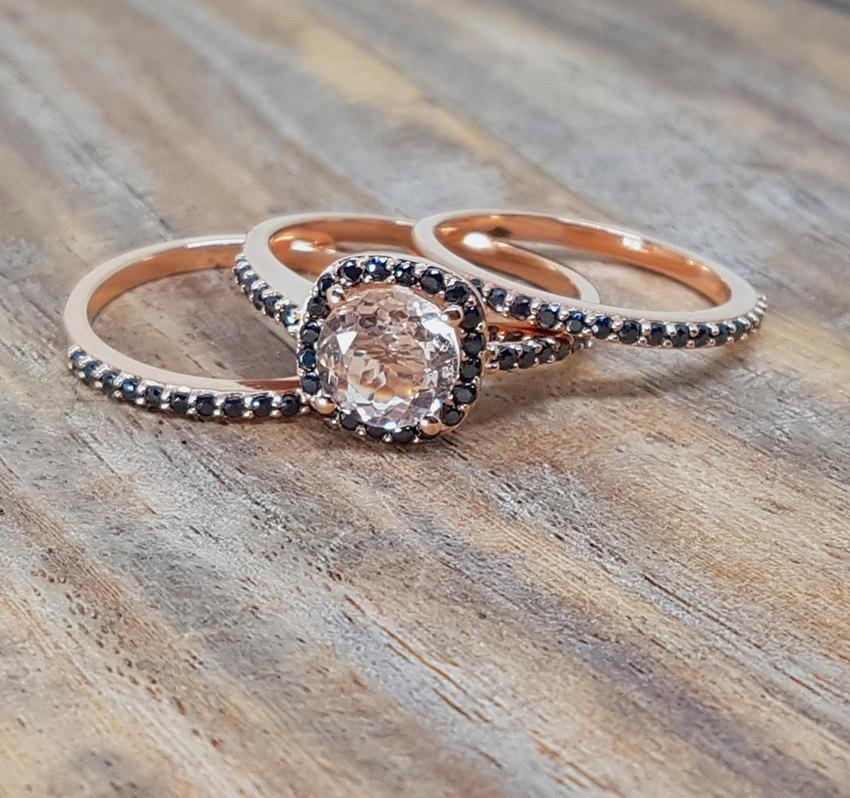 morganite - Morganite Wedding Ring Set