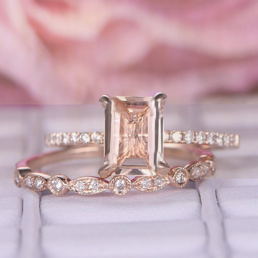 Perfect Bridal Set on Sale 1.50 carat emerald Cut Morganite and ...