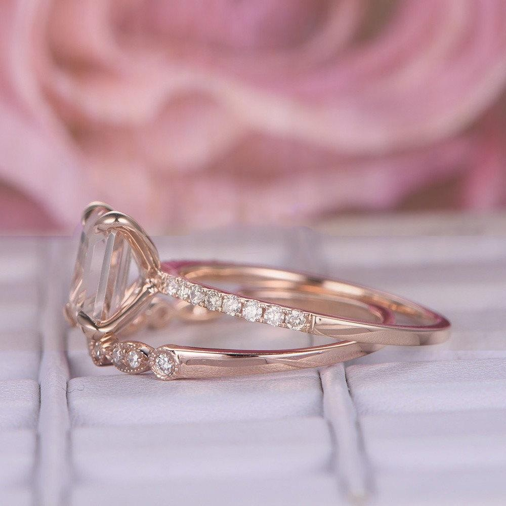 Perfect Bridal Set on Sale 1.50 carat emerald Cut Morganite and ...