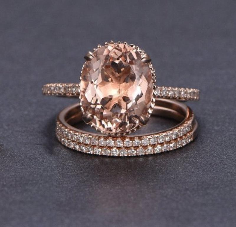 Limited Time Sale 2 carat Morganite and Diamond Trio Ring Set in 10k