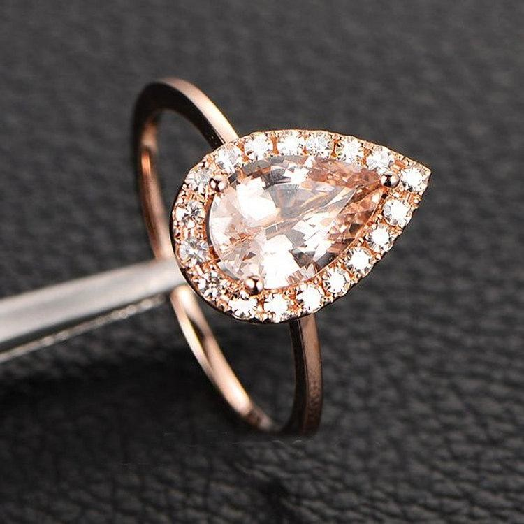 Engagement Rings Sale Rose Gold: Limited Time Sale: 1.25 Carat Peach Pink Morganite (pear